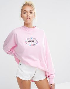 Lazy Oaf High Neck Long Sleeve T-Shirt With Awkward Print