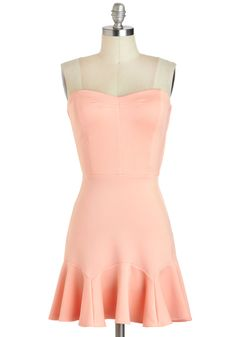 Dessert Tasting Dress - Short, Pink, Solid, Ruffles, Party, A-line, Strapless, Sweetheart, Pastel, Spring, Summer, Prom