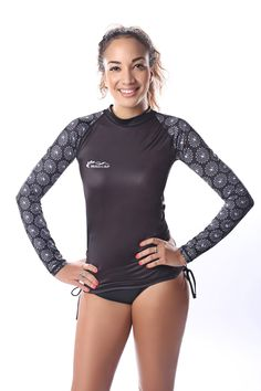 MADCAP Women's UV Sun Protection Long-Sleeve Rash Guard (Black, M-165/84A). Features: • Include UPF 50+ ultraviolet sun protection soft and resistant stretch polymer for comfort and durability. • Excellent shape and color retention. • Use of the latest technology of sublimation printing ensures the pattern lasts longer than standard printing methods. • Our material has been properly tested and carries a UPF 50+ rating, which is the highest sun protection rating available. . Composition: •...