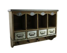 By the Numbers Wall Mounted Wooden Organization Center w/Metal Drawers - Zeckos