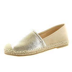 Sopily - damen Mode Schuhe Espadrilles Ballerina Slip-On Krokodil Patent Seil - Gold FRF-14-LX110 T 37 - http://on-line-kaufen.de/sopily/37-eu-sopily-damen-mode-schuhe-espadrilles-slip-on