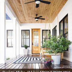 Five Porch Flooring Options - Plank and Pillow Front Porch Deck, Porch Wood, Concrete Porch, Farmhouse Front Porches, Porch Area, Diy Porch, Farmhouse Homes, Modern Farmhouse, Country Porches