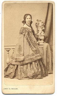 1860's Fur trimmed palette with elaborate trim &  closing, CDV
