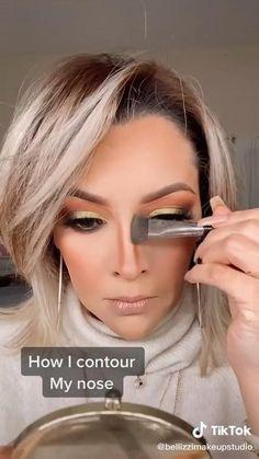Nose Contouring, Makeup Tips Contouring, Beauty Makeup Tips, Contour Makeup, Contouring For Beginners, Beginners Eye Makeup, Nose Makeup, Day Makeup, How To Contour Nose