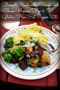 Broccoli Raab with Sausage and Black Mission Figs & Gluten-Free Hot Pepper Ziti! Recipe courtesy of Sarah in the Kitchen!