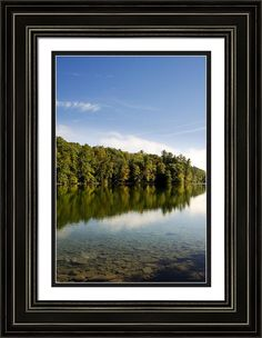 Reflecting A New Day by Christina Rollo © www.rollosphotos.com. Beautiful morning sunrise in early autumn with clear, calm water and reflection on the lake, under bright blue sky at Chenango Valley State Park, Chenango Forks NY, USA. #NewYork #landscape #fineart #rollosphotos