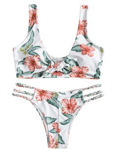 New Knotted Floral Swimming Bra and Braided Straps Bottoms Wire Free Padded Swimsuit High Neck Bikini Set, Two Piece Bikini, Two Piece Swimsuits, Push Up, Swim Bra, Floral Print Design, Bandeau Bikini Set, Trends, Bra Styles