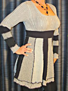 CIJ SALE - Upcycled Sweater Dress in Black and Gray - OOAK - 20% Off listed price