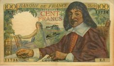 Currency of France 100 French Francs banknote of Rene Descartes. French Franc, Cartesian Coordinates, Money Images, Coin Worth, World Coins, Saving For Retirement, Postage Stamps, Collection, Recherche Google