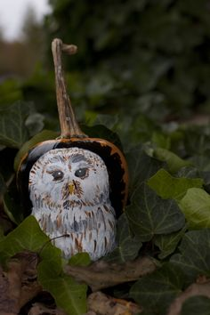 painted Owl pumpkin Owl Pumpkin, Christmas Ornaments, Holiday Decor, Projects, Log Projects, Blue Prints, Christmas Jewelry, Christmas Decorations, Christmas Decor