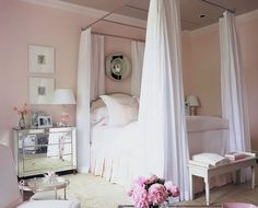 Pale Pink Bedroom with White Canopy Bed- love the paint color and mirrored nightstand Canopy Bedroom, Home Bedroom, Girls Bedroom, Bedroom Decor, Diy Canopy, Canopy Beds, Blush Bedroom, Dream Bedroom, Feminine Bedroom