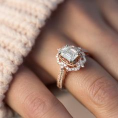 This shimmering halo engagement ring features 74 round pavé-set diamonds, at approximately .41 carat total weight, hand-selected and hand-matched for exceptional sparkle. Set in quality 14 karat rose gold, this ring measures 15mm wide and awaits the center diamond of your choice at approximately 1.00 carat. #diamondengagementrings #halorings #GoldJewellerySet