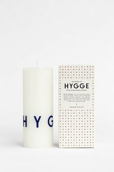 100 hours of HYGGE. Individually-boxed deep glow printed block candle S K A N D I N A V I S K - Press images