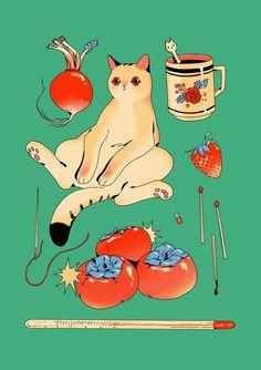 an art print by Choo Art And Illustration, Illustrations Posters, Pretty Art, Cute Art, Oui Oui, Grafik Design, Aesthetic Art, Art Plastique, Studio Ghibli