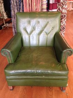 The Green 70's Chair is what your husband's man cave has been dreaming of.