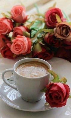 Coffee and flowers Good Morning Coffee Gif, Coffee Break, Coffee Cafe, Coffee Drinks, Café Chocolate, Pause Café, Chocolate Caliente, Coffee Photography, Turkish Coffee
