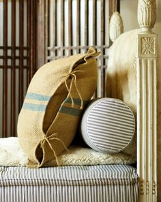 Like the combination of grain sack pillow with ticking stripe mattress Jute, Burlap Pillows, Throw Pillows, Bolster Pillow, Neck Pillow, French Country Farmhouse, Grain Sack, Linens And Lace, Ticks