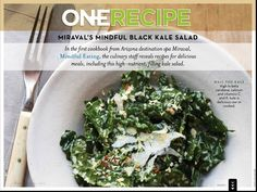 In the Summer 2012 issue of VIVmag: Miraval's black kale salad with a dusting of cheese, toasted bread crumbs and red pepper flakes. http://www.zinio.com/pages/VIVmag/SUMMER2012/416227402/pg-70