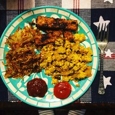 """Last night I made breakfast for dinner. Waffle iron hashbrowns tofu/pepper scramble and pan fried marinated tempeh (or tempeh """"bacon"""" as some call it)."""