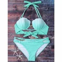 Bikini Shell Sirena Verde Con Blanco