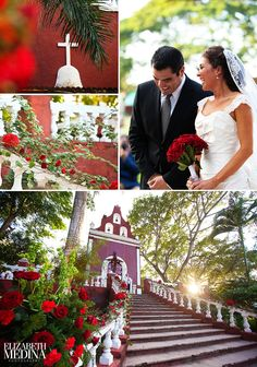 chapel wedding in Mexico, red wedding flowers