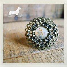 Tiny Tulips Adjustable Ring  VintageStyle by PickleDogDesign, $8.00