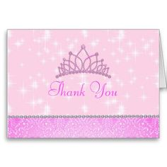 Pink Sparkle Princess Thank You Card