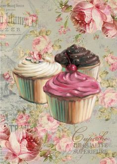 Long before cupcakes were such a hot treat, I dabbled in their cute petite world as a young girl. When I was growing up, cupcakes were one of my favorite desserts to make. Vintage Labels, Vintage Cards, Vintage Paper, Cupcake Illustration, Tea Illustration, Cupcake Kunst, Cupcake Torte, Cupcake Fondant, Rose Cupcake