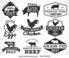 animal meat cut diagrams based on classic vintage style butchery ...