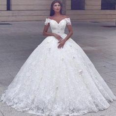 Cap-Sleeve Ball-Gown Lace Glamorous Lace Wedding Dress_Wedding Dresses 2017_Wedding Dresses_Buy High Quality Dresses from Dress Factory - Newarrivaldress.com by oldrose