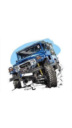 4x4 Toyota, Toyota Cars, Toyota Land Cruiser, Hors Route, Cool Car Drawings, Offroader, Bike Illustration, Jeep Cars, Automotive Art