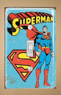 Adding it to the list, thank you Etsy! - Superman LIght Switch Plate Cover. $7.00, via Etsy.