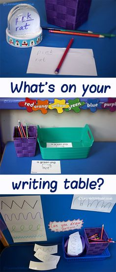 What's on your writing table? Writing Station, Writing Area, Writing Table, Literacy Display, Phonics Display, Phonics Activities, Writing Activities, Literacy And Numeracy, Early Literacy
