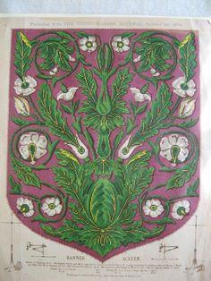 Printed Pattern for Berlin Wool Work Banner Screen, Young Ladies  Journal 1874