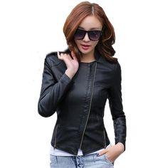 dc46fe5129cc8 Leather coat 2018 spring women leather jacket slim motorcycle clothing  female short fashion jackets and coats