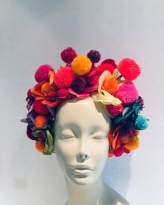 Items similar to Pom pom headpiece -Red Headband- Whimsical on Etsy Pom Pom Headband, Red Headband, Headbands, Hand Crochet, Crochet Hats, Festival Accessories, Mermaid Blanket, Floral Hair, Burning Man