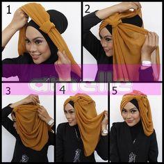 hijabstyle by amelle 1 Islamic Fashion, Muslim Fashion, Hijab Fashion, Simple Hijab Tutorial, Hijab Style Tutorial, Scarf Styles, Hijab Styles, How To Wear Hijab, Turban Hijab