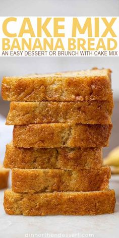 Mix Banana Bread is a an easy cake mix hack dessert treat that you can serv. -Cake Mix Banana Bread is a an easy cake mix hack dessert treat that you can serv. Cake Mix Desserts, Dessert Bread, Easy Desserts, Dessert Recipes, Cake Recipes, Baking Desserts, Cake Baking, Recipes Dinner, Recipe Using Ripe Bananas