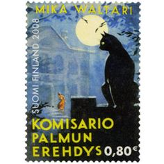 Cats in Illustration and Philately: Finnish postage stamp for Waltari, Mika -