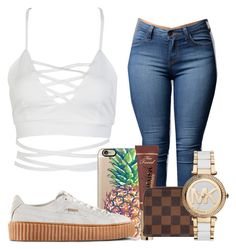 """""""Untitled #485"""" by teennoutfits ❤ liked on Polyvore featuring WithChic, Casetify, Puma, Too Faced Cosmetics, Louis Vuitton and Michael Kors"""