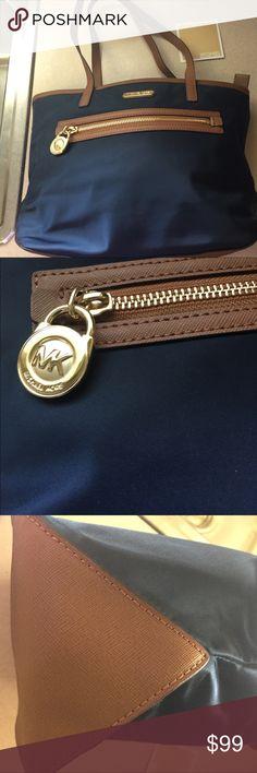 Michael Kors handbag Michael Kors blue nylon fabric 2 handles zip compartments cell phone slot  never used nwot 9x14 Michael Kors Bags Satchels