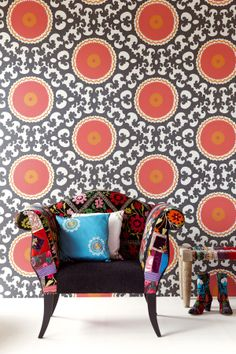 Mixing colorful patterns can be fun-just be careful not to overwhelm! #design #color #wallpaper