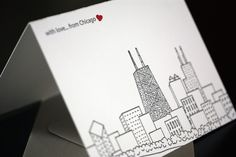 with love...from Chicago. Letterpress card via Penelope's Press.