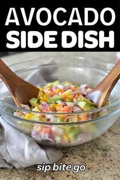 This avocado side dish has creamy ranch and a bunch of vegetables. It reminds me of Costco avocado dressing. It's so tasty. | sipbitego.com #sipbitego #dinner #salad #makeahead #potluck #sidedish #familymeal #recipe #partyfood #sidedish #vegetables #vegetarian Make Ahead Salads, Vegetable Salad Recipes, Avocado Ranch, Avocado Dressing, Supper Recipes, Breakfast Lunch Dinner, Dinner Sides, Vegetable Side Dishes, Costco