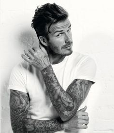 David Beckham posing for Men's Health