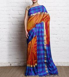 Orange Chequered Pure Silk Saree