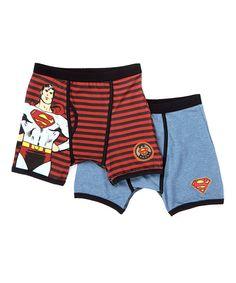 Look what I found on #zulily! Vintage Stripe Superman Boxer Briefs Set - Boys by Superman #zulilyfinds