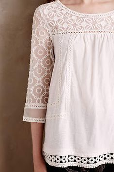 Anthropologie Favorites:: The Perfect Tees, Tanks, Camis and Tops Top Mode, Casual Outfits, Cute Outfits, Lace Tee, Sewing Clothes, Blouse Designs, Designer Dresses, Style Me, Dress Up