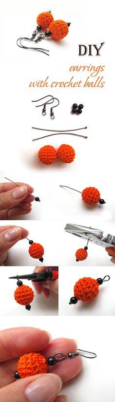 Earrings with crochet balls tutorial diy ༺✿ƬⱤღ  http://www.pinterest.com/teretegui/✿༻