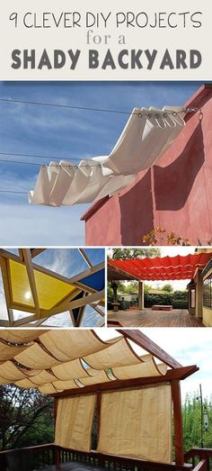 9 Clever DIY Ways to Create Backyard Shade 2019 9 Clever DIY Ways for a Shady Backyard Oasis Ideas tutorials and some creative ways to bring shade to your backyard! The post 9 Clever DIY Ways to Create Backyard Shade 2019 appeared first on Backyard Diy. Backyard Projects, Outdoor Projects, Garden Projects, Easy Projects, Wood Projects, Backyard Shade, Backyard Patio, Pergola Patio, Shade Ideas For Backyard